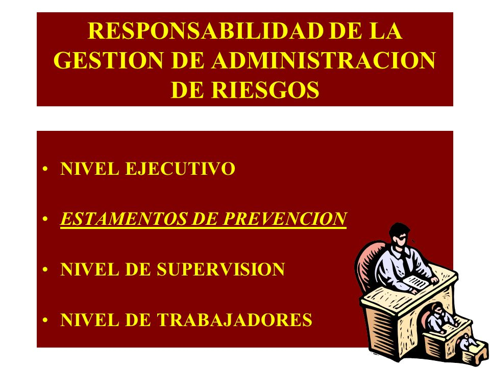 NIVEL EJECUTIVO ESTAMENTOS DE PREVENCION NIVEL DE SUPERVISION NIVEL DE TRABAJADORES RESPONSABILIDAD DE LA GESTION DE ADMINISTRACION DE RIESGOS
