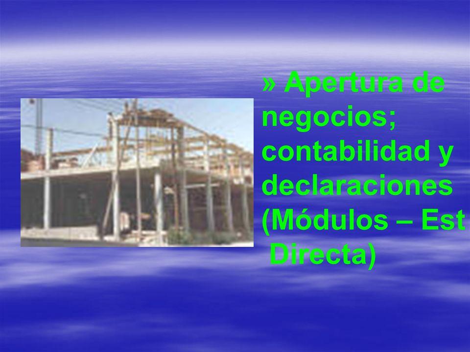 » Apertura de negocios; contabilidad y declaraciones (Módulos - Est.