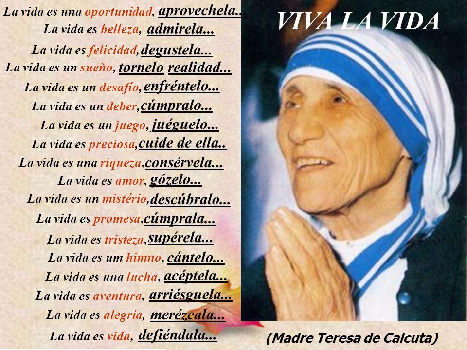 34 VIVA LA VIDA (Madre Teresa de Calcuta) La vida es una oportunidad, aprovechela... La vida es belleza, admirela... La vida es felicidad, degustela..