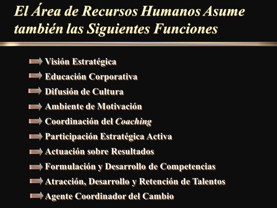 El Área de Recursos Humanos Asume también las Siguientes Funciones Visión Estratégica Educación Corporativa Difusión de Cultura Ambiente de Motivación