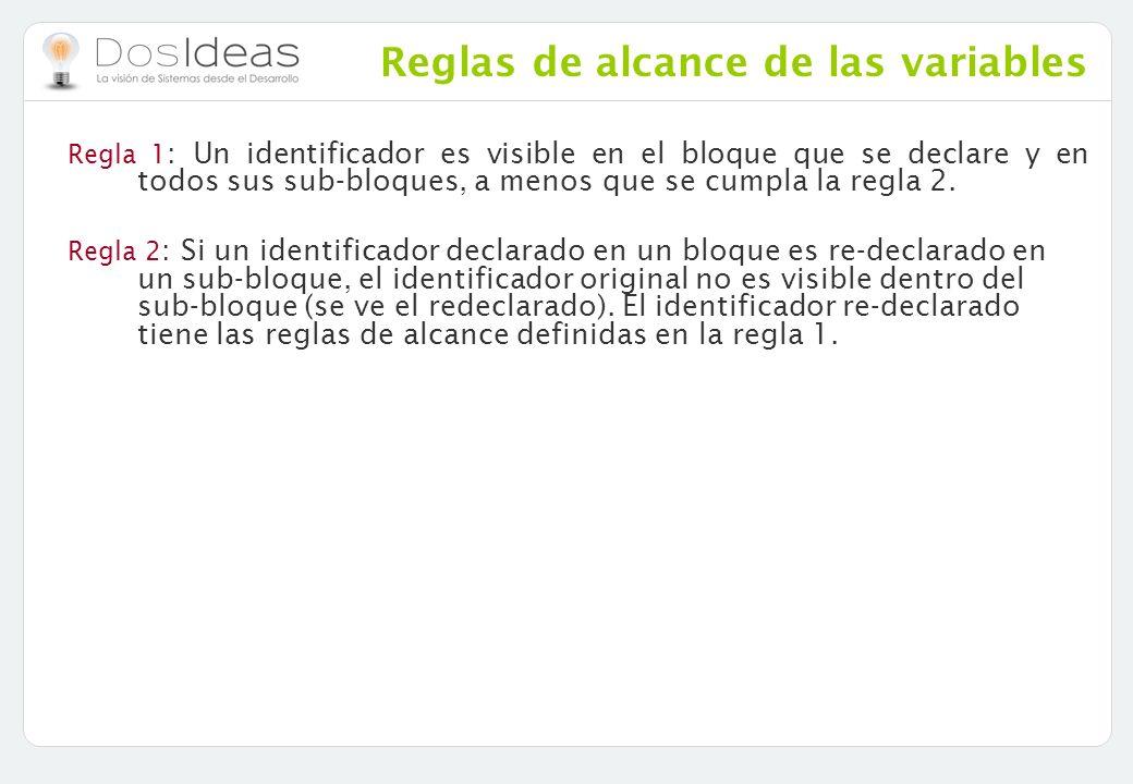 Reglas de alcance de las variables Regla 1 : Un identificador es visible en el bloque que se declare y en todos sus sub-bloques, a menos que se cumpla