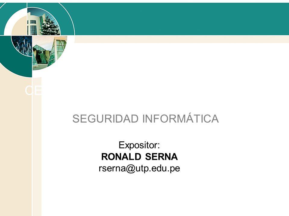 CERTIFICADOS DIGITALES SEGURIDAD INFORMÁTICA Expositor: RONALD SERNA rserna@utp.edu.pe
