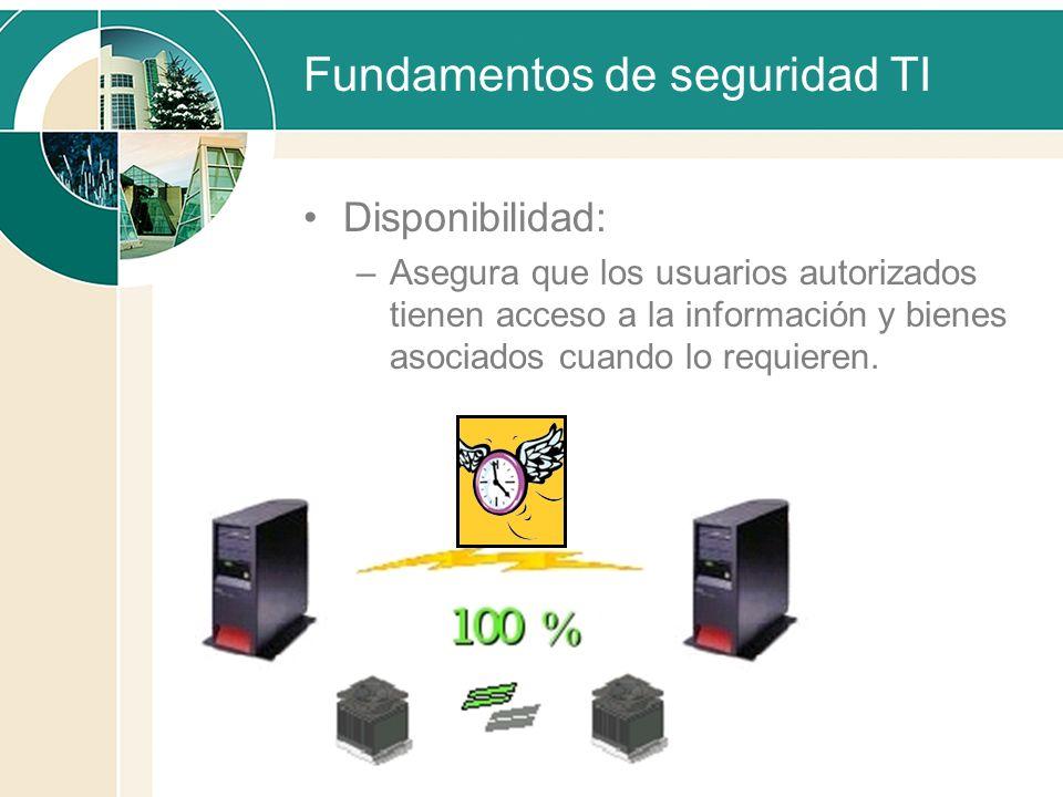 Fundamentos de seguridad TI Disponibilidad: –Asegura que los usuarios autorizados tienen acceso a la información y bienes asociados cuando lo requiere