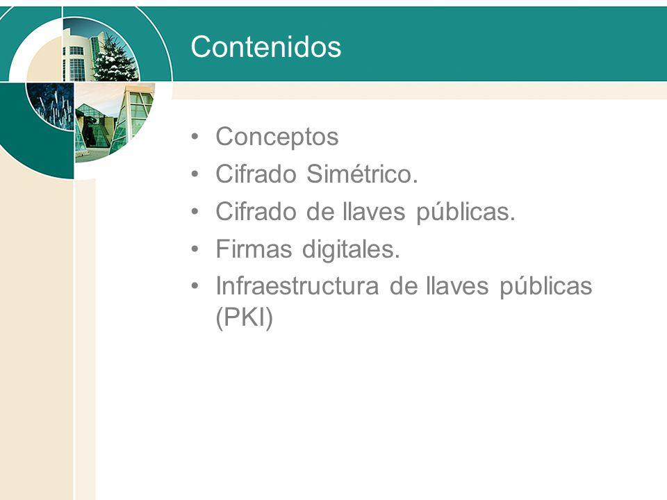 Contenidos Conceptos Cifrado Simétrico. Cifrado de llaves públicas. Firmas digitales. Infraestructura de llaves públicas (PKI)