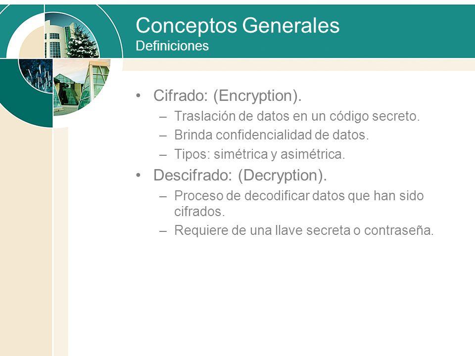 Conceptos Generales Definiciones Cifrado: (Encryption). –Traslación de datos en un código secreto. –Brinda confidencialidad de datos. –Tipos: simétric