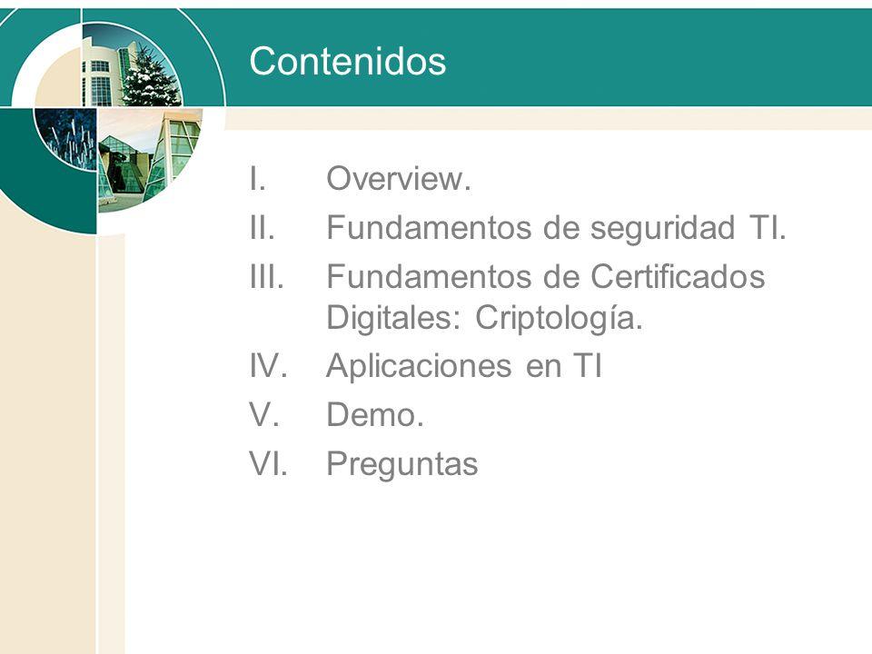 Contenidos I.Overview. II.Fundamentos de seguridad TI. III.Fundamentos de Certificados Digitales: Criptología. IV.Aplicaciones en TI V.Demo. VI.Pregun