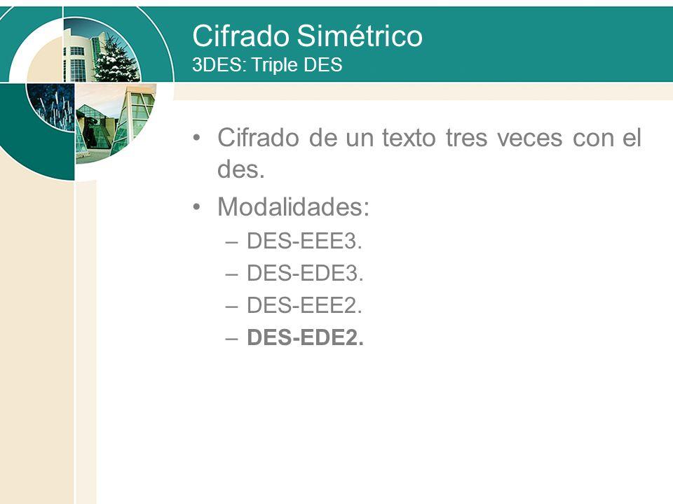 Cifrado Simétrico 3DES: Triple DES Cifrado de un texto tres veces con el des. Modalidades: –DES-EEE3. –DES-EDE3. –DES-EEE2. –DES-EDE2.