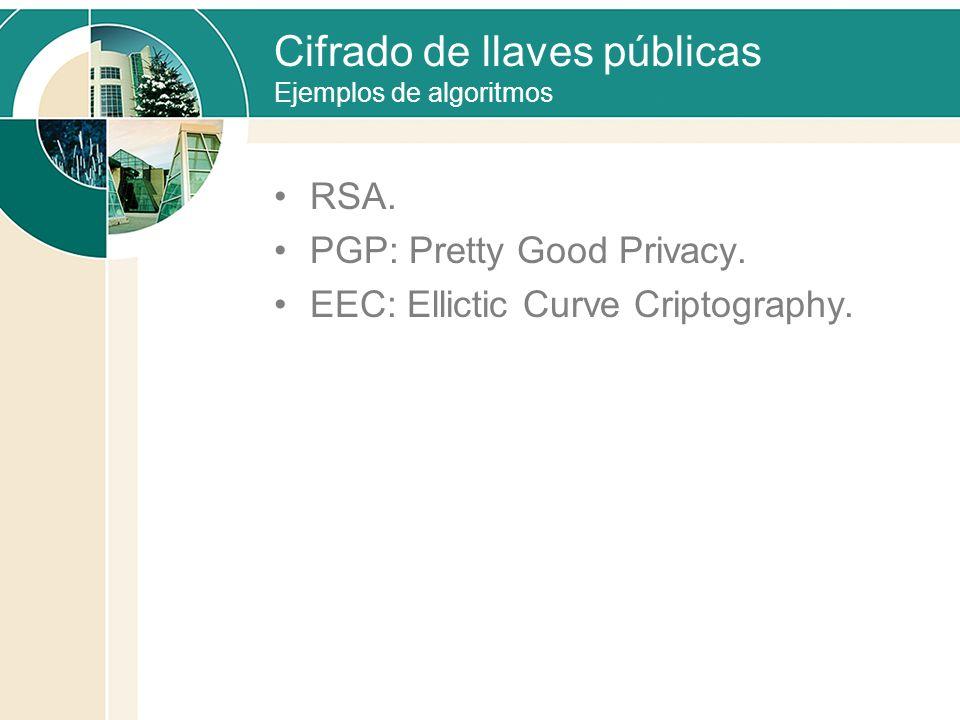 Cifrado de llaves públicas Ejemplos de algoritmos RSA. PGP: Pretty Good Privacy. EEC: Ellictic Curve Criptography.