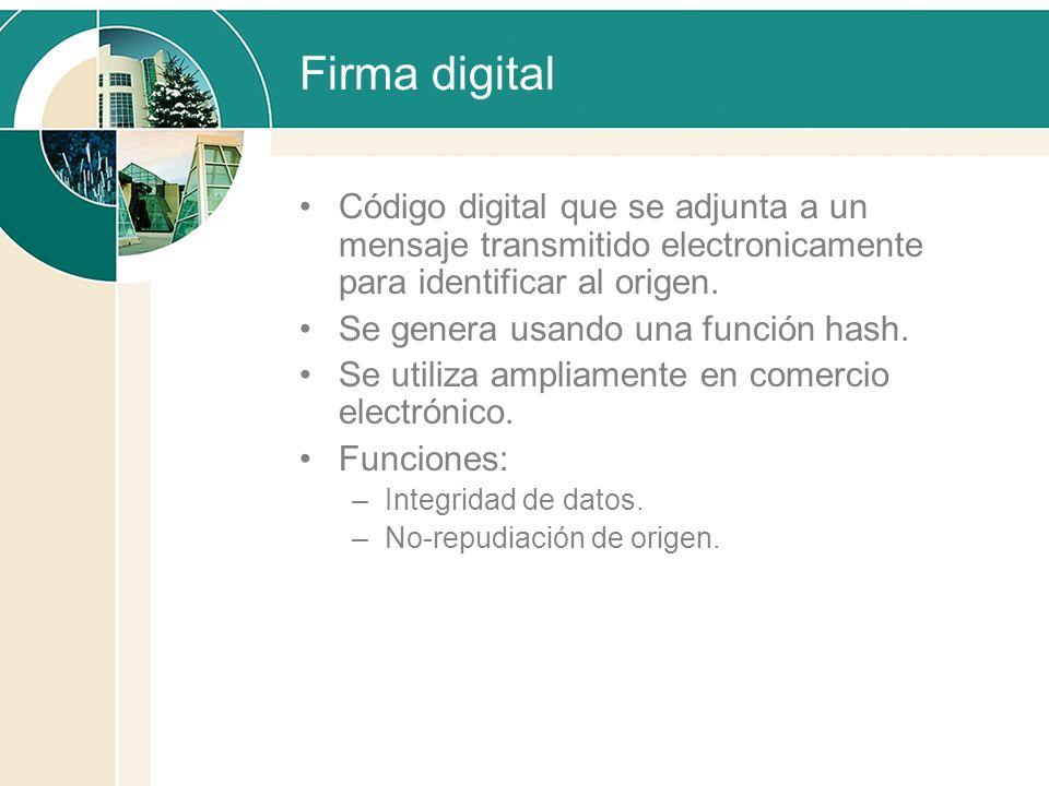 Firma digital Código digital que se adjunta a un mensaje transmitido electronicamente para identificar al origen. Se genera usando una función hash. S