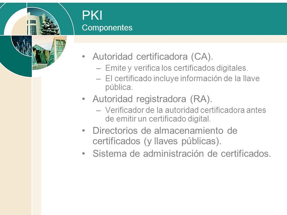 PKI Componentes Autoridad certificadora (CA). –Emite y verifica los certificados digitales. –El certificado incluye información de la llave pública. A
