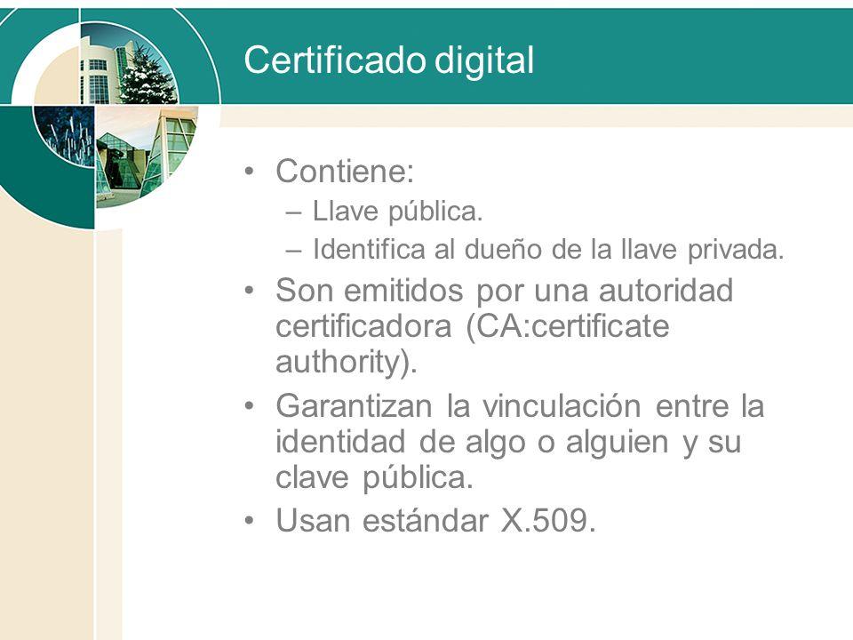Certificado digital Contiene: –Llave pública. –Identifica al dueño de la llave privada. Son emitidos por una autoridad certificadora (CA:certificate a