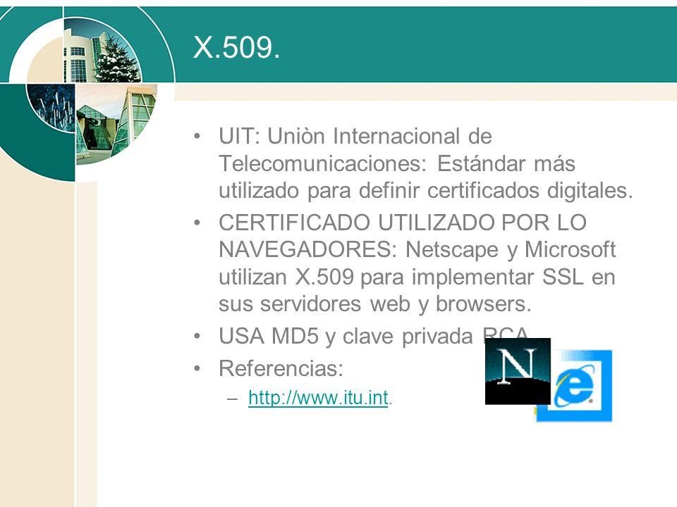 X.509. UIT: Uniòn Internacional de Telecomunicaciones: Estándar más utilizado para definir certificados digitales. CERTIFICADO UTILIZADO POR LO NAVEGA