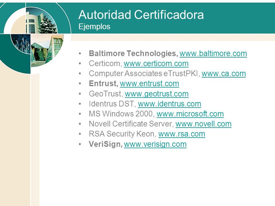 Autoridad Certificadora Ejemplos Baltimore Technologies, www.baltimore.comwww.baltimore.com Certicom, www.certicom.comwww.certicom.com Computer Associ