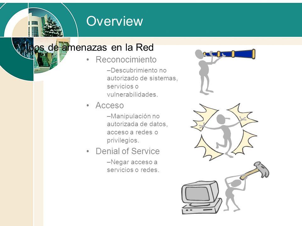 Overview Reconocimiento –Descubrimiento no autorizado de sistemas, servicios o vulnerabilidades. Acceso –Manipulación no autorizada de datos, acceso a