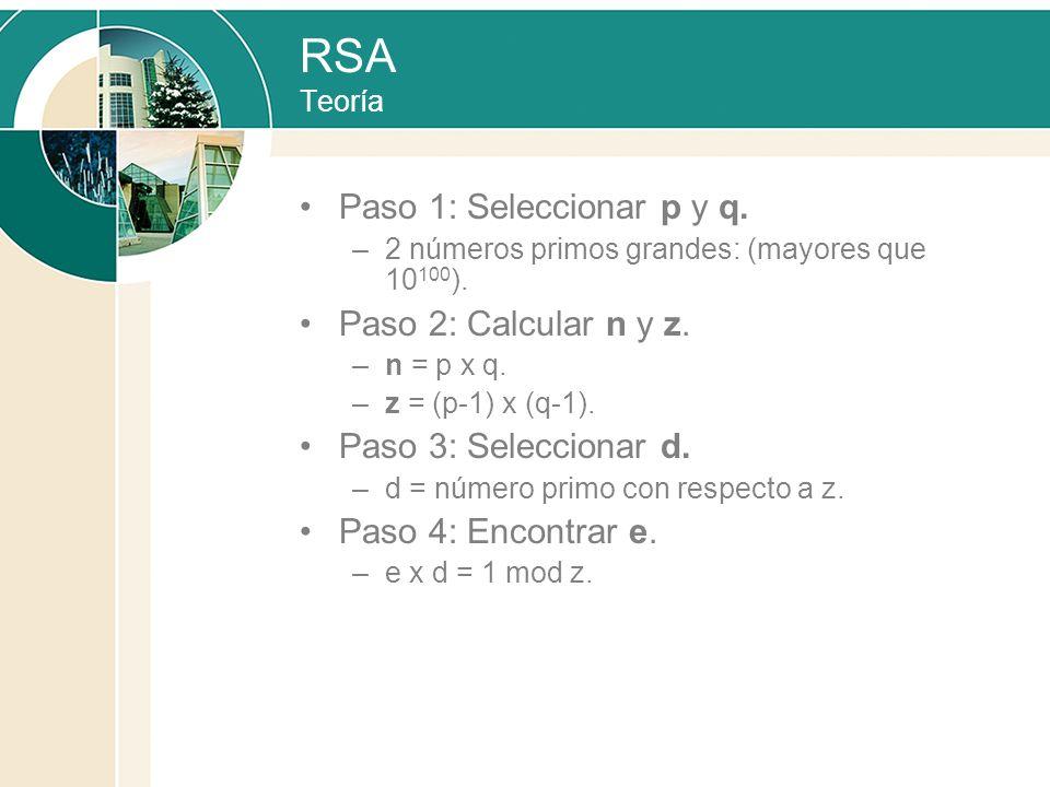 RSA Teoría Paso 1: Seleccionar p y q. –2 números primos grandes: (mayores que 10 100 ). Paso 2: Calcular n y z. –n = p x q. –z = (p-1) x (q-1). Paso 3