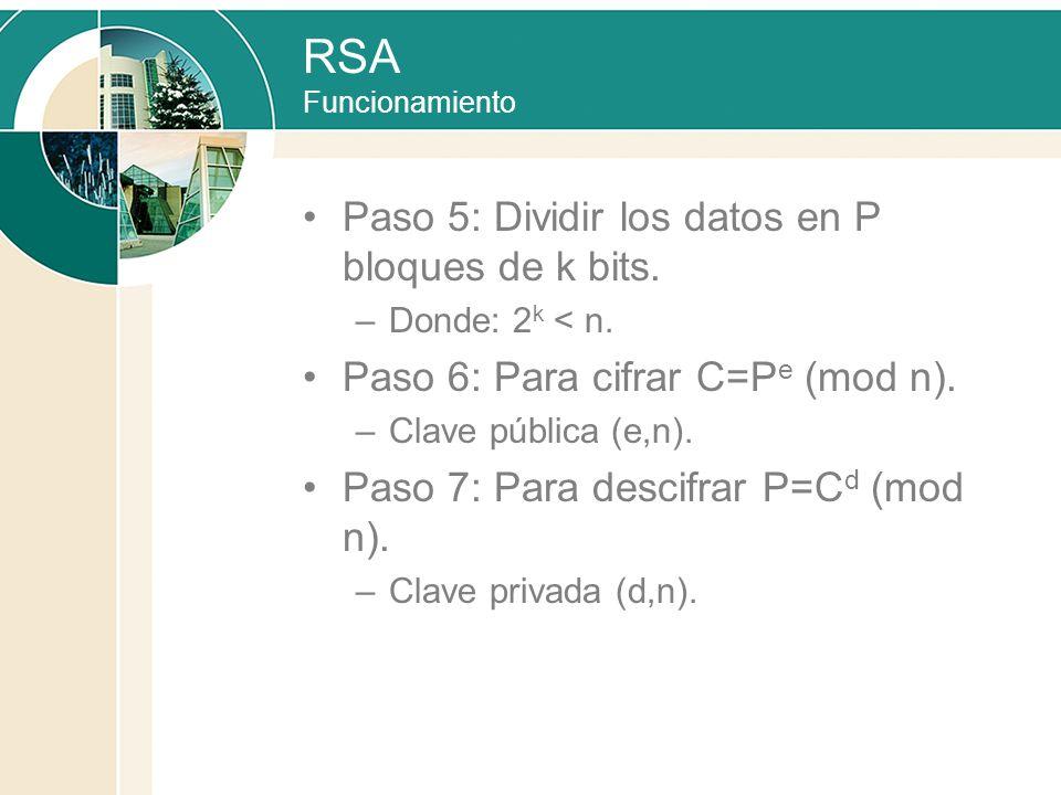 RSA Funcionamiento Paso 5: Dividir los datos en P bloques de k bits. –Donde: 2 k < n. Paso 6: Para cifrar C=P e (mod n). –Clave pública (e,n). Paso 7: