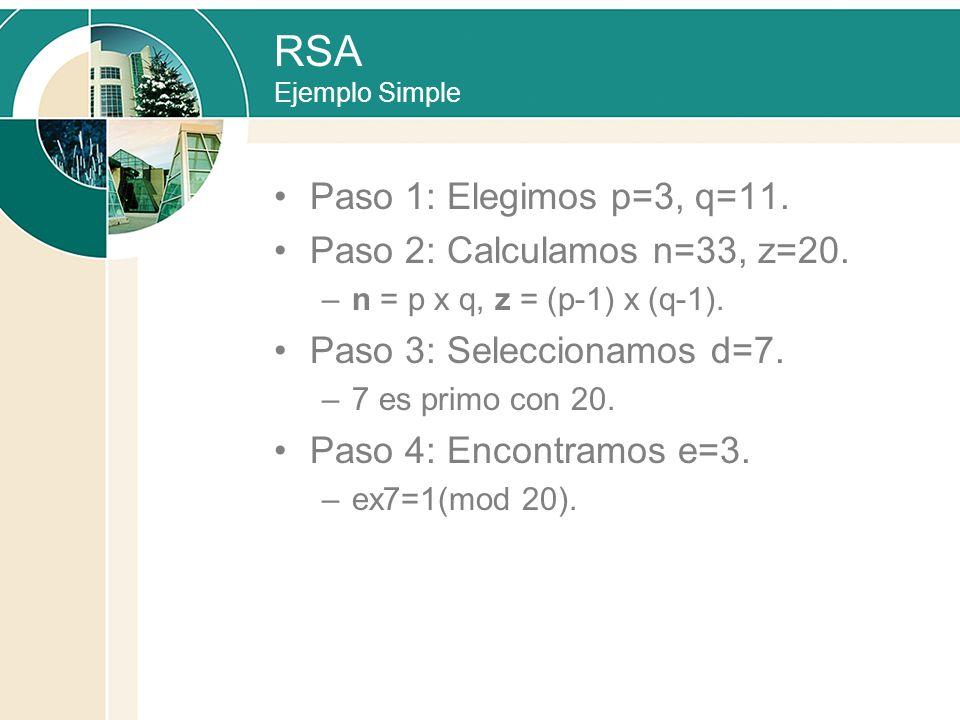 RSA Ejemplo Simple Paso 1: Elegimos p=3, q=11. Paso 2: Calculamos n=33, z=20. –n = p x q, z = (p-1) x (q-1). Paso 3: Seleccionamos d=7. –7 es primo co