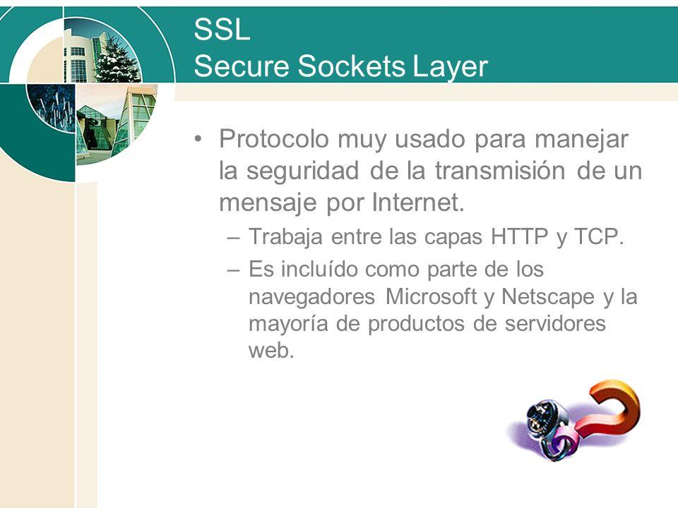 SSL Secure Sockets Layer Protocolo muy usado para manejar la seguridad de la transmisión de un mensaje por Internet. –Trabaja entre las capas HTTP y T