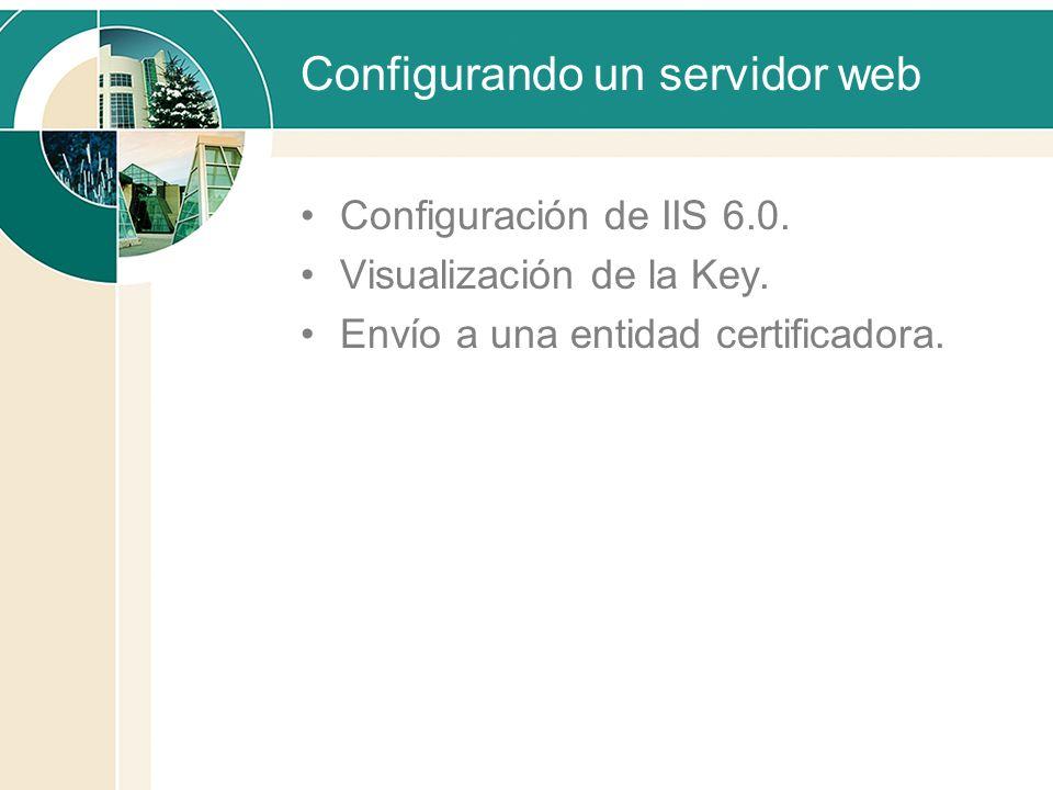 Configurando un servidor web Configuración de IIS 6.0. Visualización de la Key. Envío a una entidad certificadora.