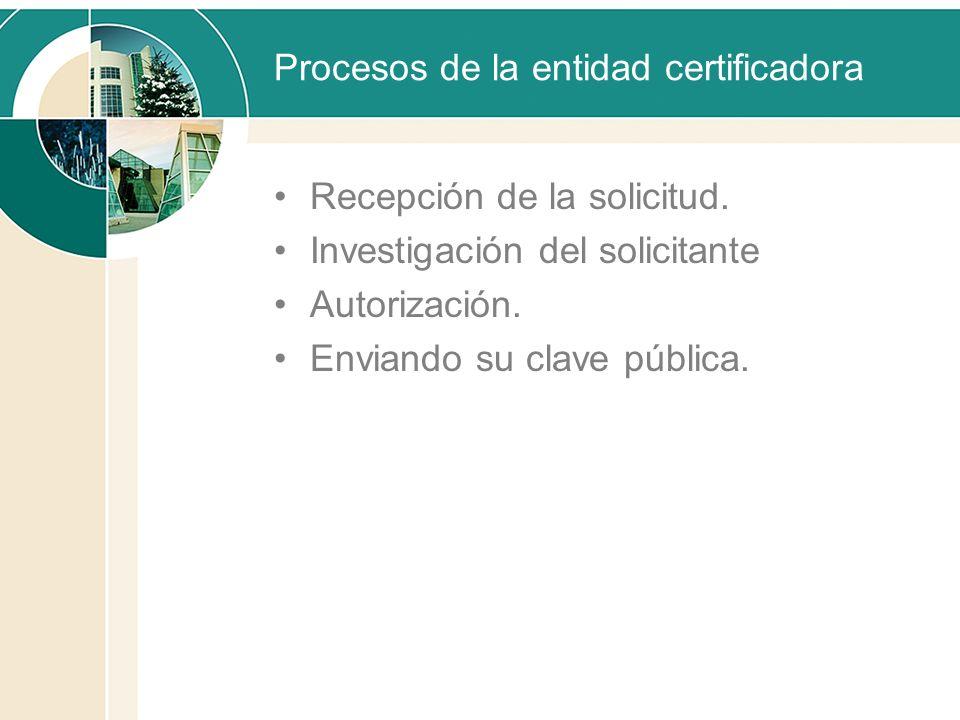 Procesos de la entidad certificadora Recepción de la solicitud. Investigación del solicitante Autorización. Enviando su clave pública.