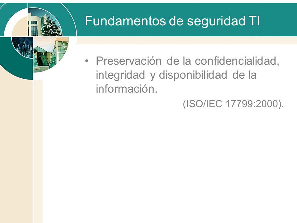 Fundamentos de seguridad TI Preservación de la confidencialidad, integridad y disponibilidad de la información. (ISO/IEC 17799:2000).