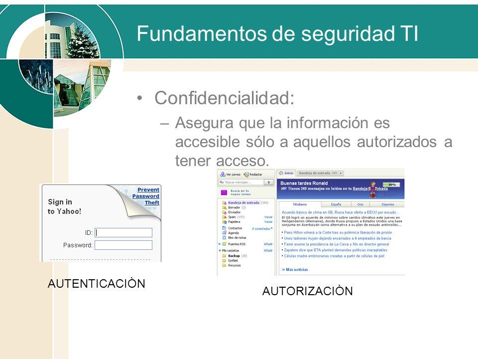 Fundamentos de seguridad TI Confidencialidad: –Asegura que la información es accesible sólo a aquellos autorizados a tener acceso. AUTENTICACIÒN AUTOR