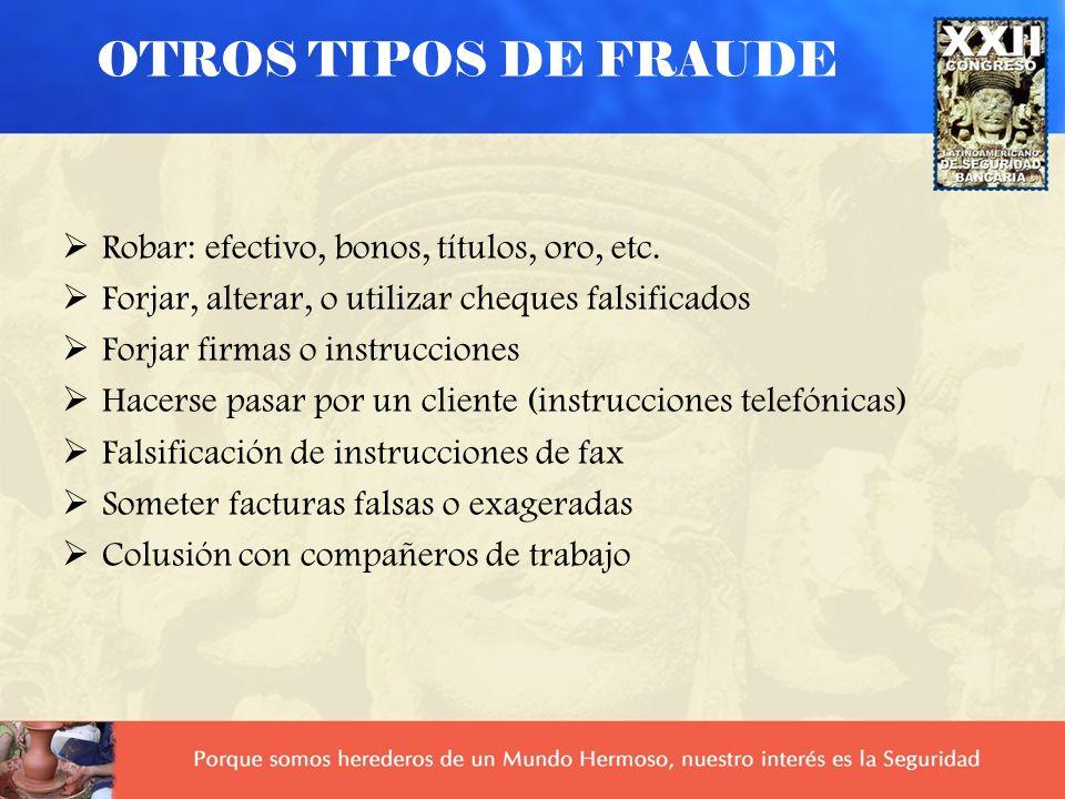 T. Perdida: Cuando el cliente pierde la tarjeta y quien la encuentra la utiliza fraudulentamente T. Robada: Cuando la tarjeta es robada del cliente. G