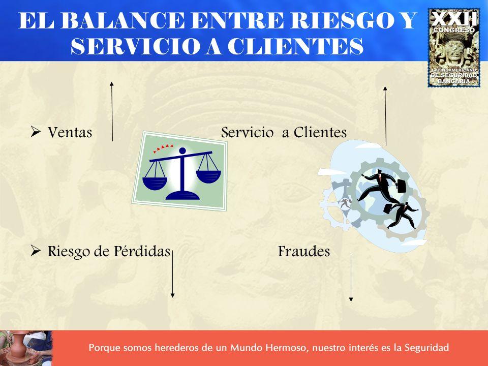 EL BALANCE ENTRE RIESGO Y SERVICIO A CLIENTES Ventas Servicio a Clientes Riesgo de Pérdidas Fraudes
