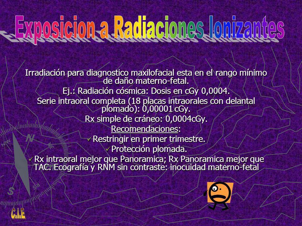 Irradiación para diagnostico maxilofacial esta en el rango mínimo de daño materno-fetal.