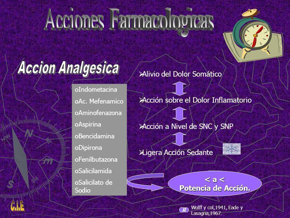 R Alivio del Dolor Somático Acción sobre el Dolor Inflamatorio Acción a Nivel de SNC y SNP Ligera Acción Sedante oIndometacina oAc.