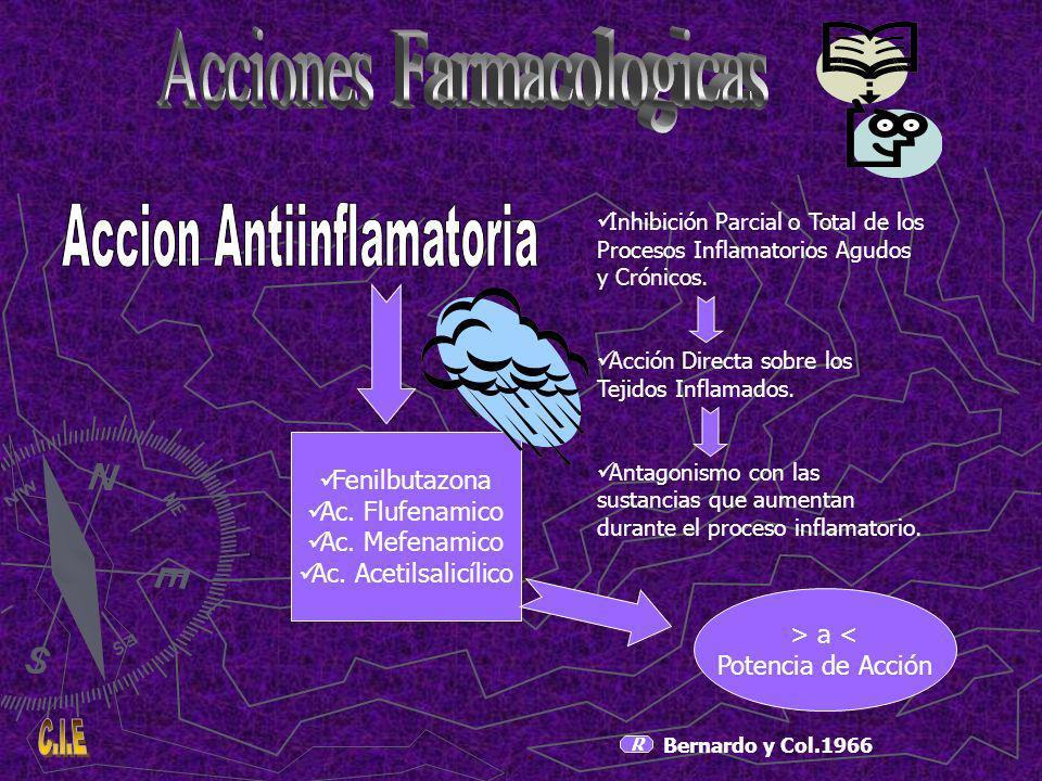 R Bernardo y Col.1966 Inhibición Parcial o Total de los Procesos Inflamatorios Agudos y Crónicos.