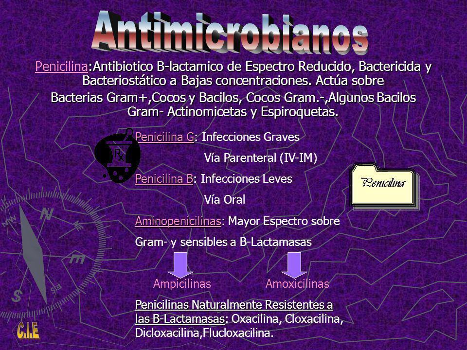 :Antibiotico B-lactamico de Espectro Reducido, Bactericida y Bacteriostático a Bajas concentraciones.