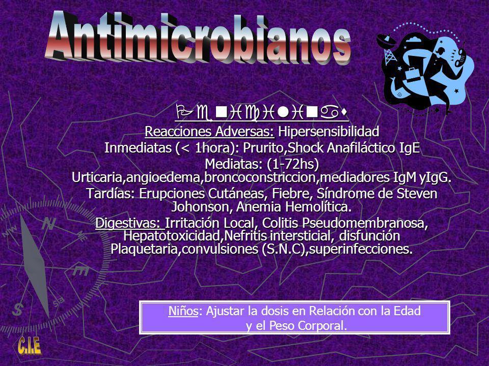 Penicilinas Reacciones Adversas: Hipersensibilidad Inmediatas (< 1hora): Prurito,Shock Anafiláctico IgE Mediatas: (1-72hs) Urticaria,angioedema,broncoconstriccion,mediadores IgM yIgG.
