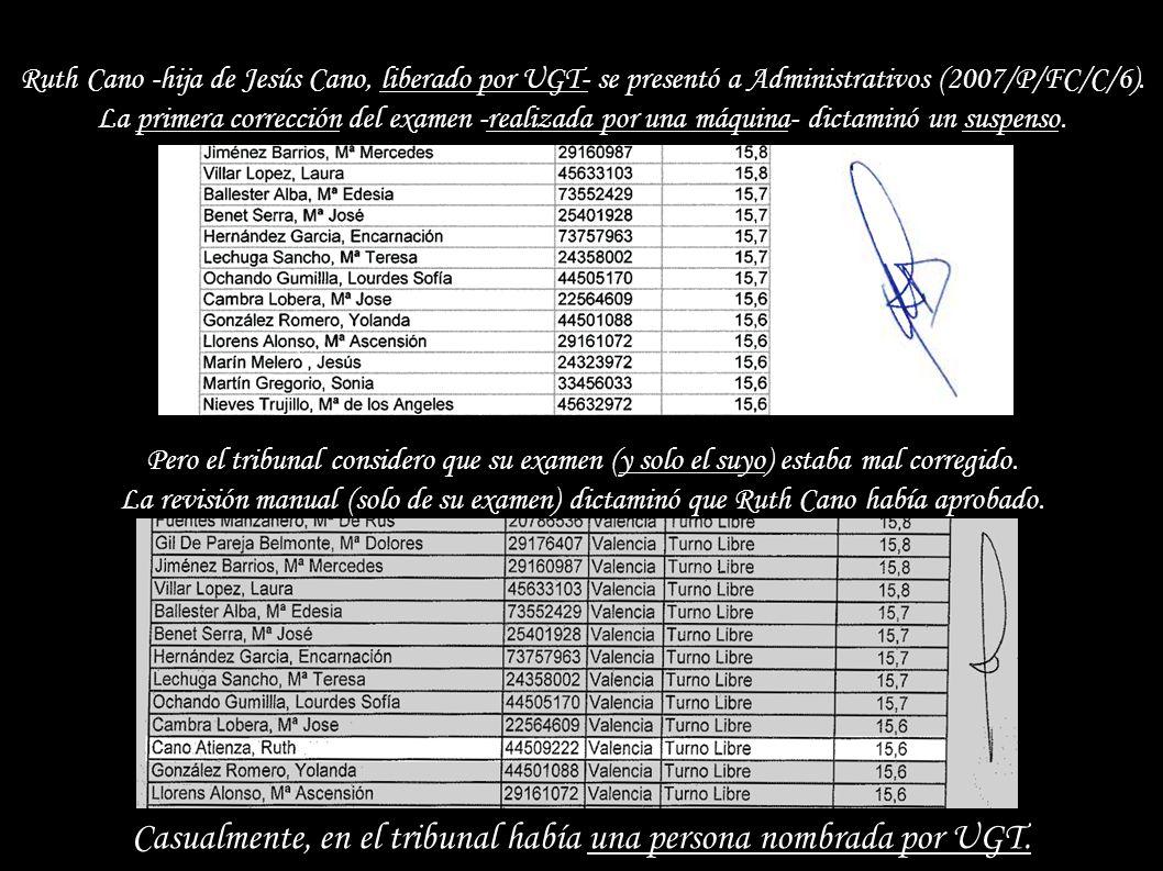 Ruth Cano -hija de Jesús Cano, liberado por UGT- se presentó a Administrativos (2007/P/FC/C/6).