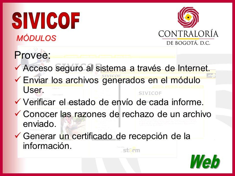 Provee: Acceso seguro al sistema a través de Internet. Enviar los archivos generados en el módulo User. Verificar el estado de envío de cada informe.