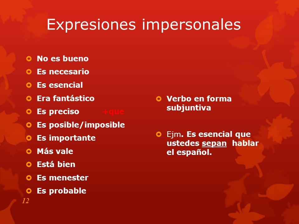 11 IIImpersonal (Expresiones) Petición/Mandato Ojalá Deseo /Duda Negación Emoción PP O O D D N N E E