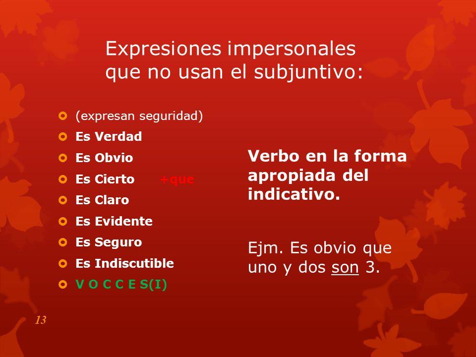 Expresiones impersonales No es bueno Es necesario Es esencial Era fantástico Es preciso +que Es posible/imposible Es importante Más vale Está bien Es