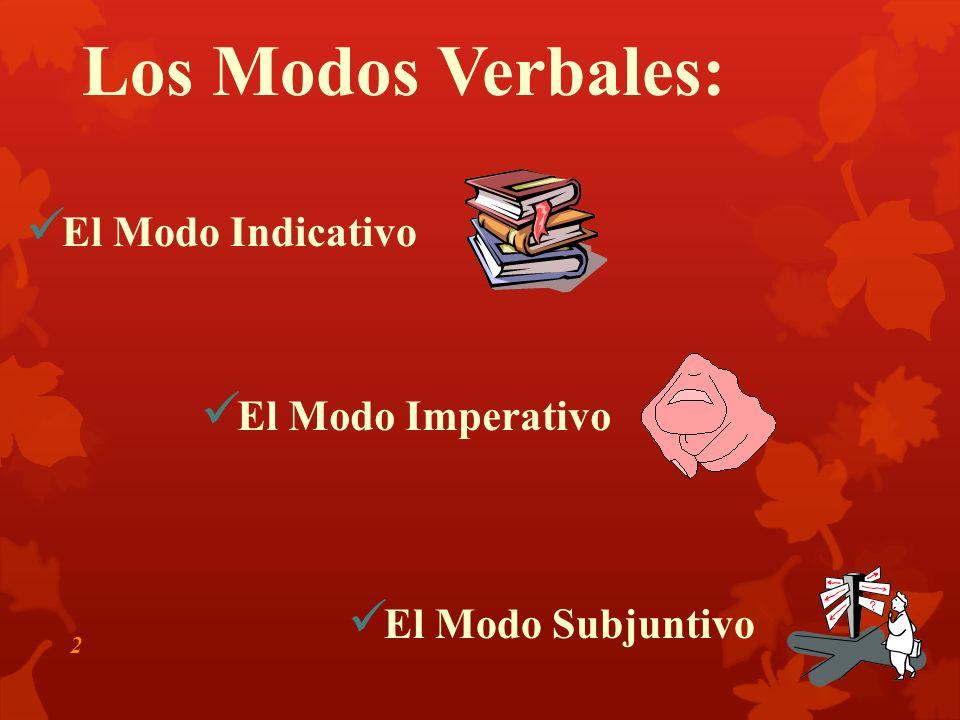 Los Modos Verbales: 2 El Modo Subjuntivo El Modo Imperativo El Modo Indicativo