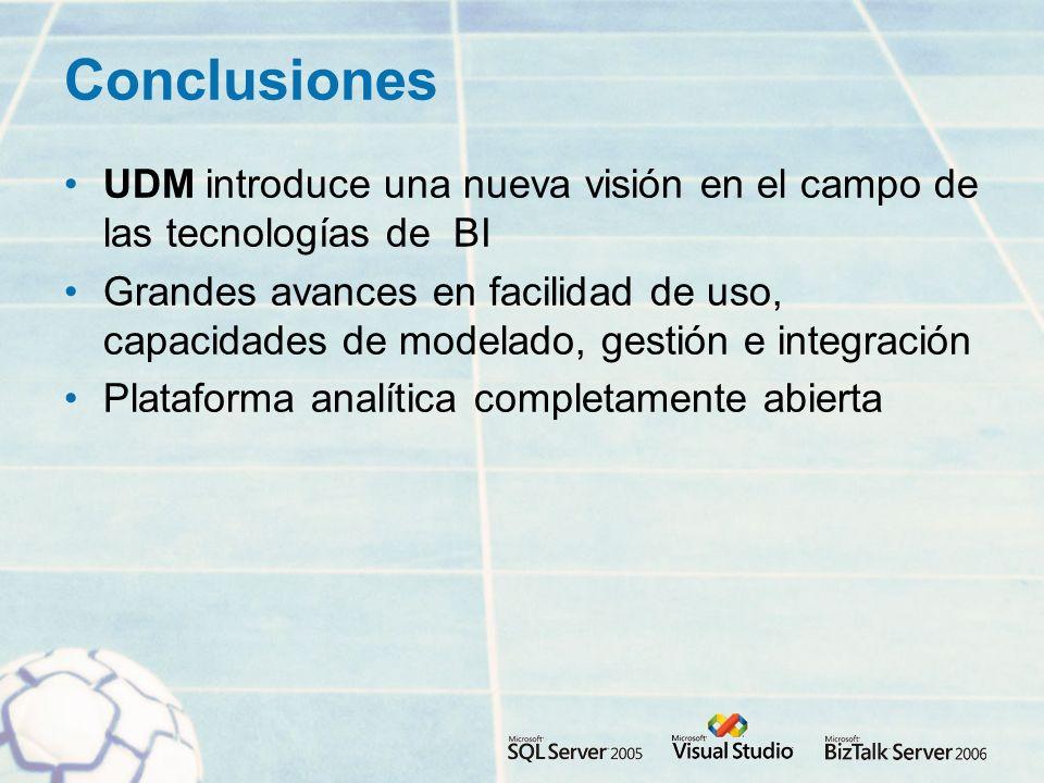 Conclusiones UDM introduce una nueva visión en el campo de las tecnologías de BI Grandes avances en facilidad de uso, capacidades de modelado, gestión e integración Plataforma analítica completamente abierta