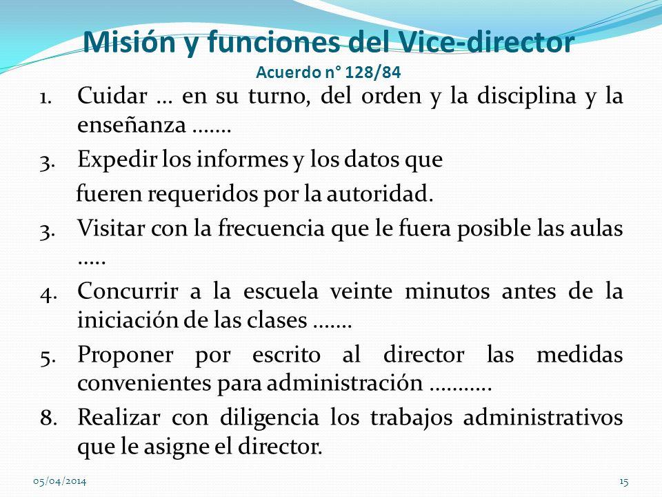 Misión y funciones del Vice-director Acuerdo n° 128/84 1. Cuidar … en su turno, del orden y la disciplina y la enseñanza ……. 3. Expedir los informes y