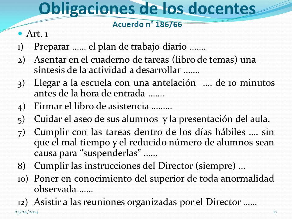 Obligaciones de los docentes Acuerdo n° 186/66 Art. 1 1) Preparar …… el plan de trabajo diario ……. 2) Asentar en el cuaderno de tareas (libro de temas