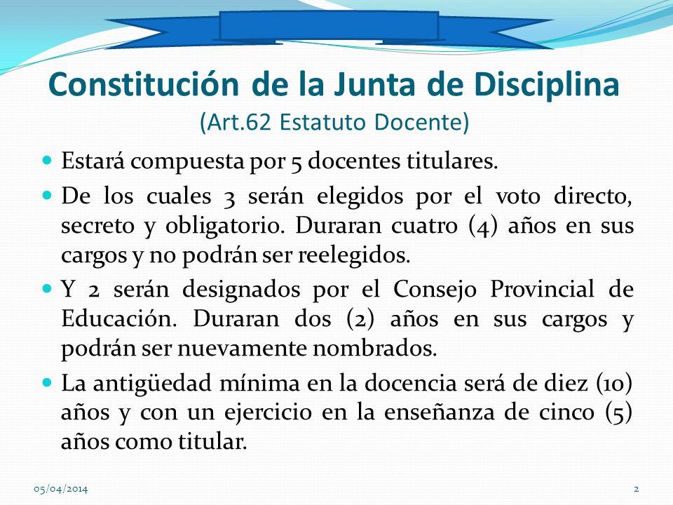 Constitución de la Junta de Disciplina (Art.62 Estatuto Docente) Estará compuesta por 5 docentes titulares. De los cuales 3 serán elegidos por el voto