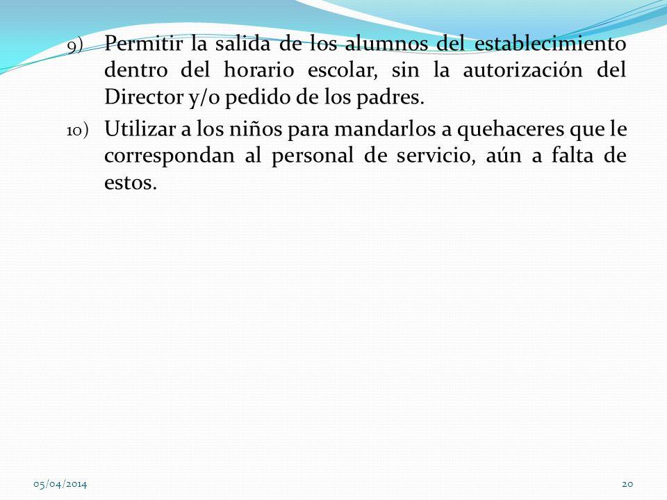 9) Permitir la salida de los alumnos del establecimiento dentro del horario escolar, sin la autorización del Director y/o pedido de los padres. 10) Ut