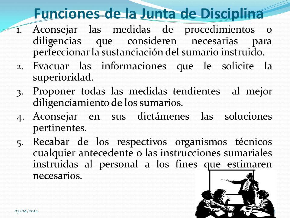 Funciones de la Junta de Disciplina 1. Aconsejar las medidas de procedimientos o diligencias que consideren necesarias para perfeccionar la sustanciac
