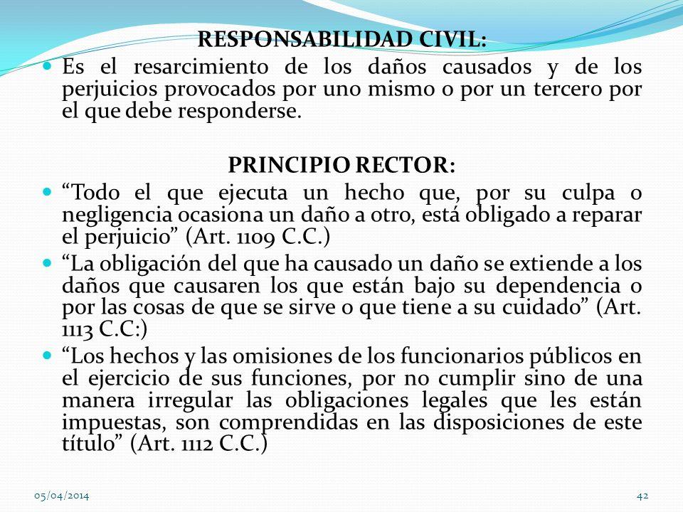 RESPONSABILIDAD CIVIL: Es el resarcimiento de los daños causados y de los perjuicios provocados por uno mismo o por un tercero por el que debe respond