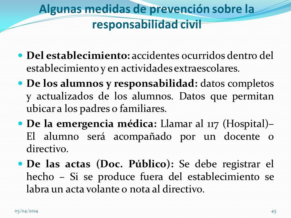 Algunas medidas de prevención sobre la responsabilidad civil Del establecimiento: accidentes ocurridos dentro del establecimiento y en actividades ext