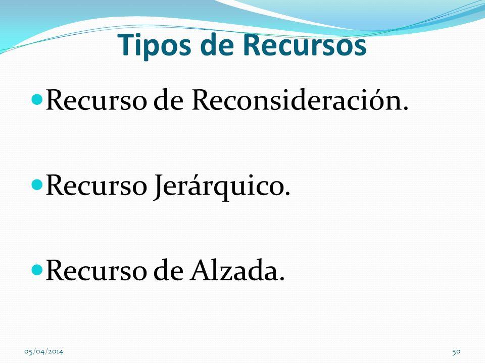 Tipos de Recursos Recurso de Reconsideración. Recurso Jerárquico. Recurso de Alzada. 05/04/201450