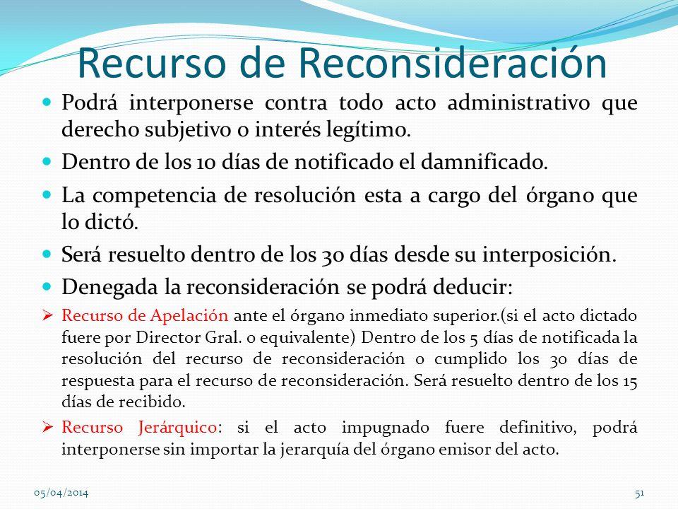 Recurso de Reconsideración Podrá interponerse contra todo acto administrativo que derecho subjetivo o interés legítimo. Dentro de los 10 días de notif