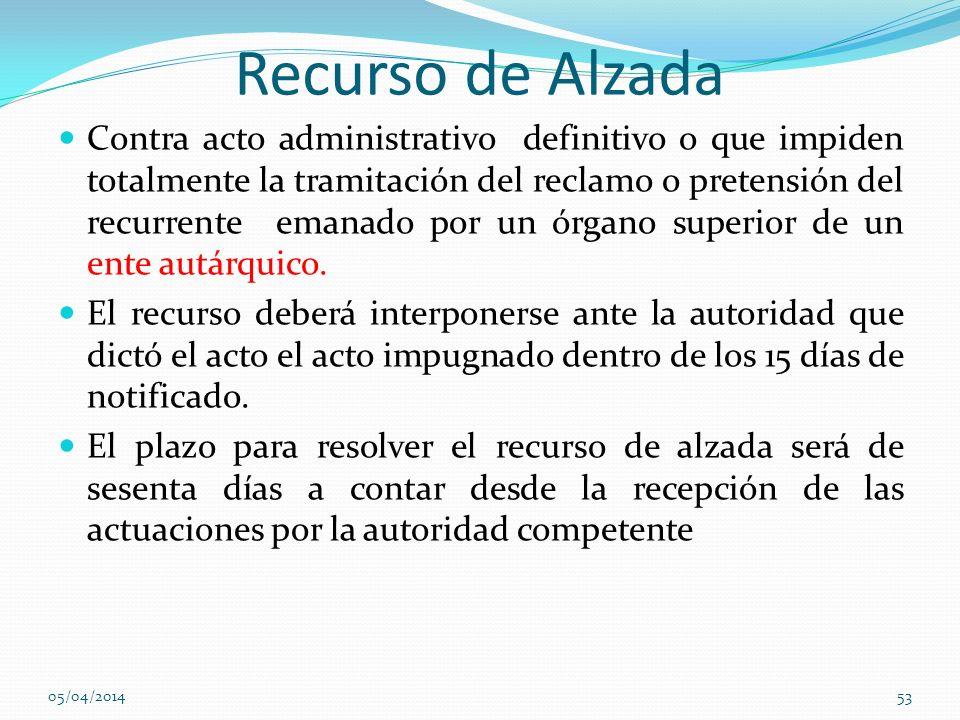 Recurso de Alzada Contra acto administrativo definitivo o que impiden totalmente la tramitación del reclamo o pretensión del recurrente emanado por un