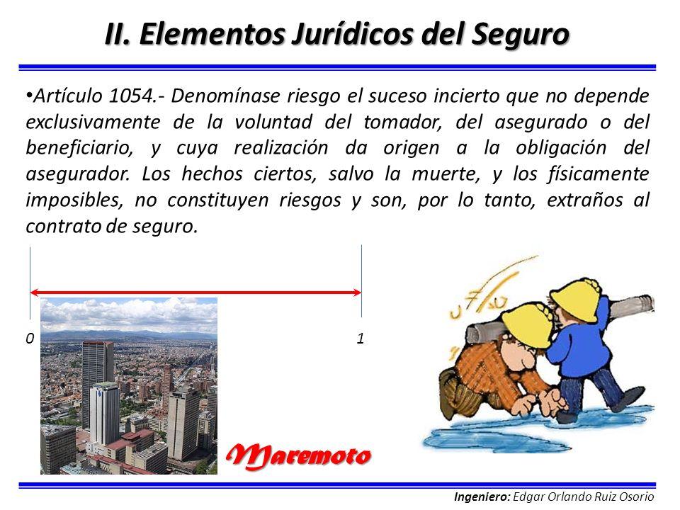 Ingeniero: Edgar Orlando Ruiz Osorio II. Elementos Jurídicos del Seguro Artículo 1054.- Denomínase riesgo el suceso incierto que no depende exclusivam